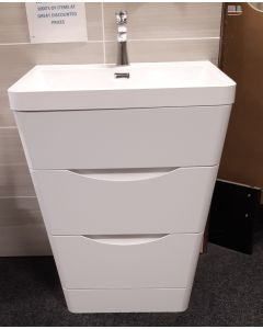 Metro High Gloss White Floor Standing Vanity Unit with basin