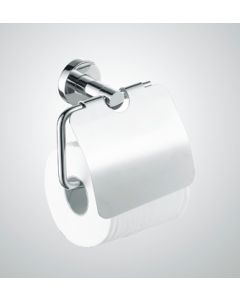 Toilet roll holder with flap -Round