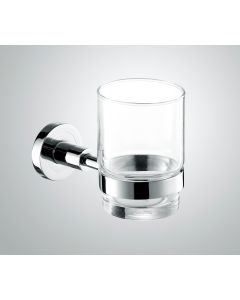 Glass tumbler with Chrome holder