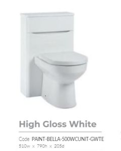 Bella 500mm High Gloss White Floor Standing BTW  Unit