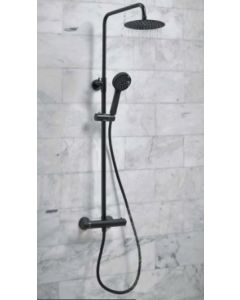 Scudo Middleton Round Thermostatic Black Shower Set With Rigid Riser & hand Shower