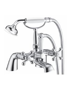 Scudo Classic Bath Shower Mixer with Cradle and traditional hand held shower