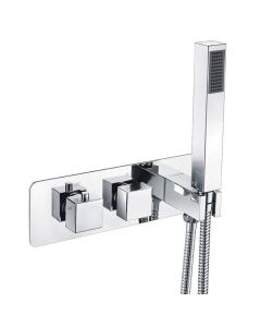 Scudo Triple Square Concealed Valve with Diverter with hose and head