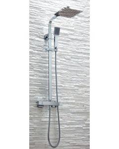Scudo Elliot Square Thermostatic Chrome Shower Set With Rigid Riser & hand Shower