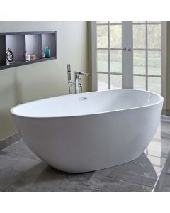 AQUA-line Elipse Freestanding Bath inc Chrome Overflow & Waste