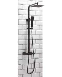 Scudo Lunar Square Thermostatic Black Shower Set With Rigid Riser & hand Shower