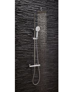 Scudo Middleton Round chrome Thermostatic Shower with rigid and Adjustable risers