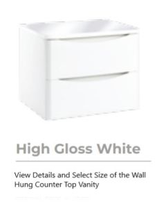 Bella High Gloss White Wall Hung Vanity units for Counter Top Basin