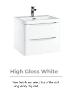 Bella High Gloss White Wall Hung Vanity units with Basin