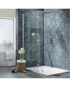 Scudo S8  Wetroom  Glass with Fixed Walk around Panel - 8mm glass